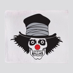 Evil Clown Skull In Top Hat Throw Blanket