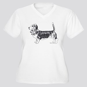 Basset Hound-Show Pose Women's Plus Size V-Neck T-