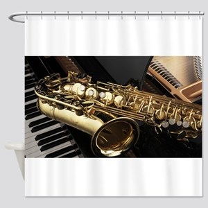 Saxophone And Piano Shower Curtain