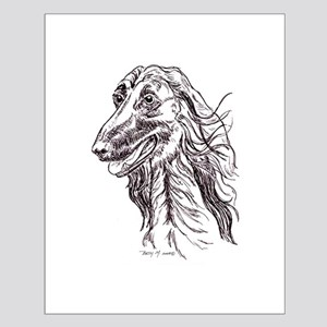 Afghan Hound Portait Small Poster