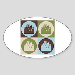 Urban Planning Pop Art Oval Sticker