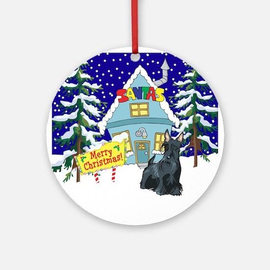 Santas Place Scottie Ornament (Round)