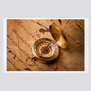 Vintage Compass On Old Paper 4' x 6' Rug