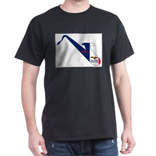 Saxophone Silhouette With Iowa Flag Icons T-Shirt