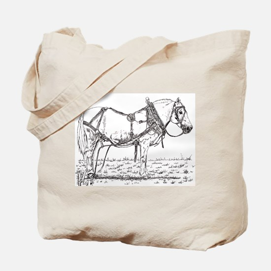 Pulling Pony in Harness Tote Bag