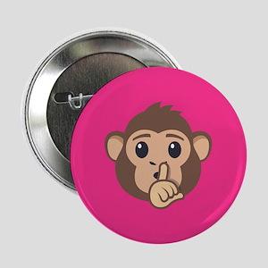 "Emojione Monkey Shushing 2.25"" Button (10 pack)"