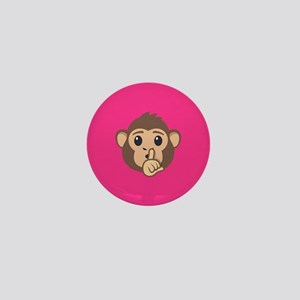 Emojione Monkey Shushing Mini Button