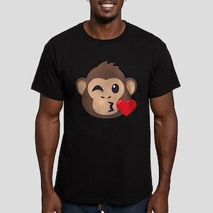 Emojione Monkey Kiss Men's Fitted T-Shirt (dark)