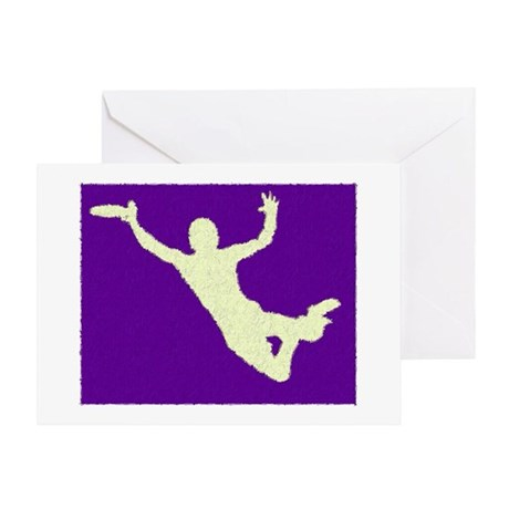 PAINTED PURPLE YELLOW DISC CATCH Greeting Card