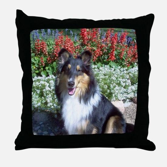 Summer Flower Sheltie Throw Pillow