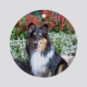 Summer Flower Sheltie Ornament (Round)