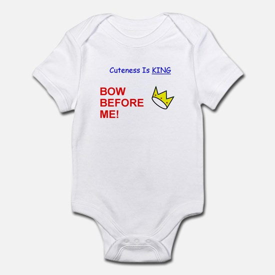 Cuteness is KING - Bow Before Me! Funny Onesies