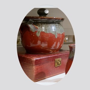 Red Pot Oval Ornament
