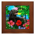 FLAT COATED RETRIEVER DOG TROPICAL Framed Tile