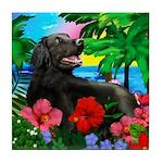 FLAT COATED RETRIEVER DOG TROPICAL Tile Coaster