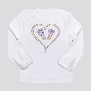 Baby Feet Heart in Watercolor Long Sleeve T-Shirt