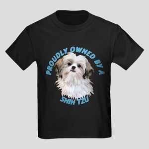Proudly Owned Shih Tzu Kids Dark T-Shirt