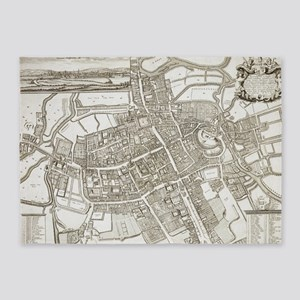 Vintage Map of Oxford England (1675 5'x7'Area Rug