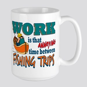 Work vs Fishing Trips Large Mug