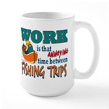 Work vs Fishing Trips Large Mug