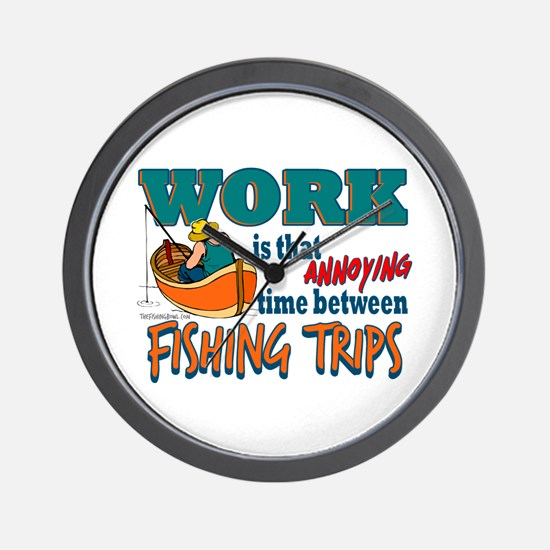 Work vs Fishing Trips Wall Clock