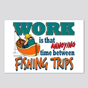 Work vs Fishing Trips Postcards (Package of 8)
