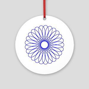 Blue Spirograph Ornament (Round)