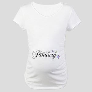 3 Rainbow Stars Due January Maternity T-Shirt