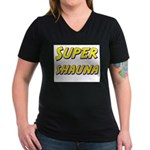 Super shauna Women's V-Neck Dark T-Shirt