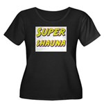 Super shauna Women's Plus Size Scoop Neck Dark T-S