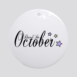 3 Rainbow Stars Due October Ornament (Round)