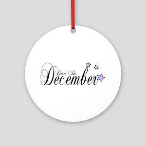 3 Rainbow Stars Due In December Ornament (Round)
