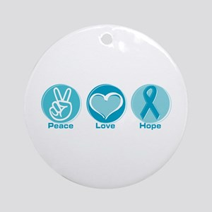 Peace Love Teal Hope Round Ornament
