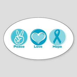 Peace Love Teal Hope Sticker (Oval)