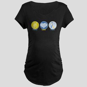 Peace Love DS hope Maternity Dark T-Shirt
