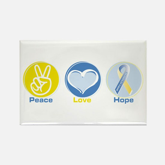 Peace Love Down syn hope Rectangle Magnet (100 pac