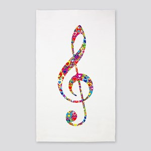 Heart-filled Treble Clef G Clef Area Rug