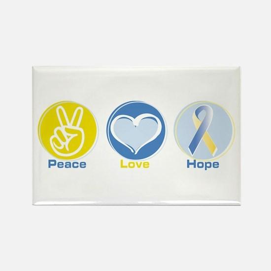 Peace Love BlueYellow Hope Rectangle Magnet (100 p