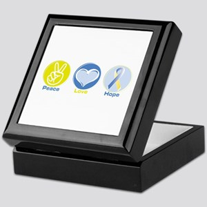 Peace Love BlueYellow Hope Keepsake Box