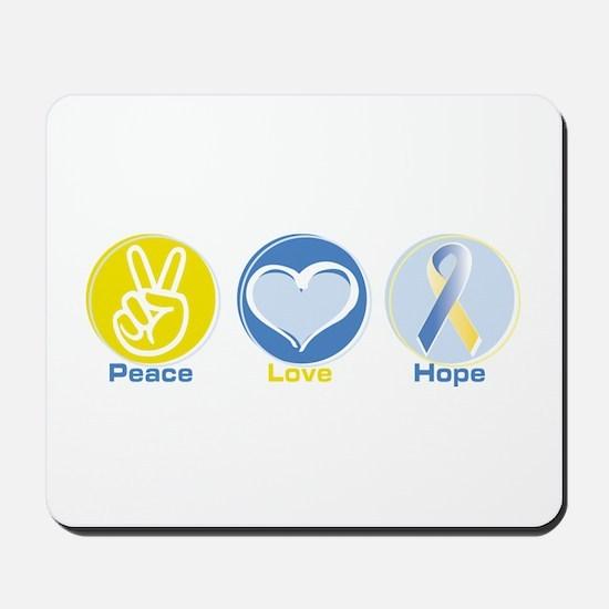 Peace Love BlueYellow Hope Mousepad