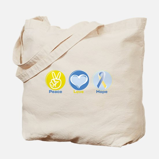 Peace Love BlueYellow Hope Tote Bag