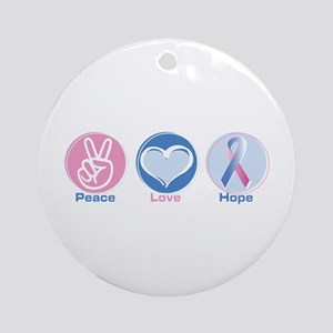 Peace Love BlPk Hope Round Ornament