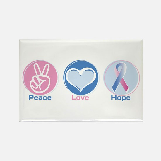 Peace Love Bl Pk Hope Rectangle Magnet