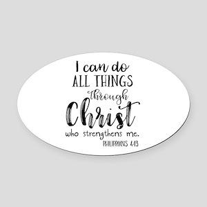 Philippians 4:13 Oval Car Magnet