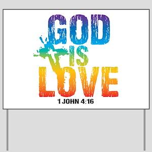 God is Love Rainbow Yard Sign