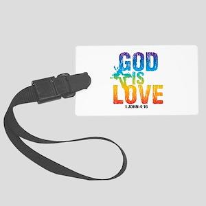 God is Love Rainbow Large Luggage Tag