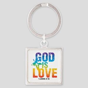 God is Love Rainbow Square Keychain