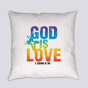 God is Love Rainbow Everyday Pillow