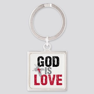 God is Love Square Keychain