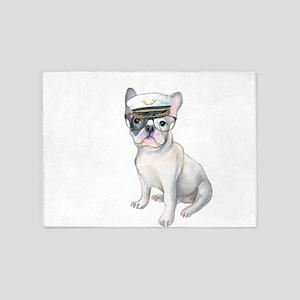 Frenchie French Bulldog black glass 5'x7'Area Rug